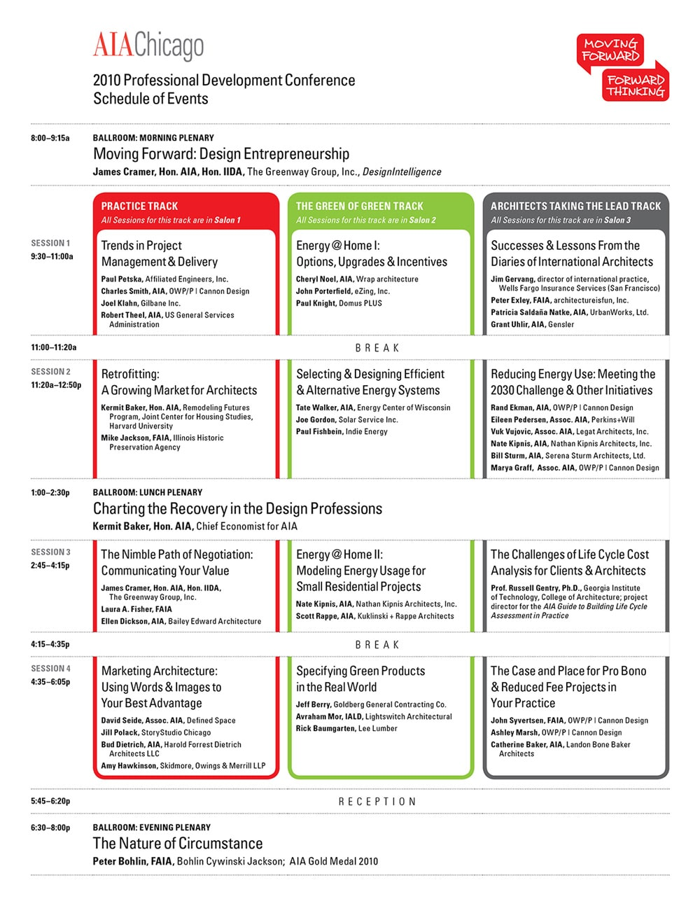 AIA Chicago : Moving Forward Forward Thinking Conference Schedule