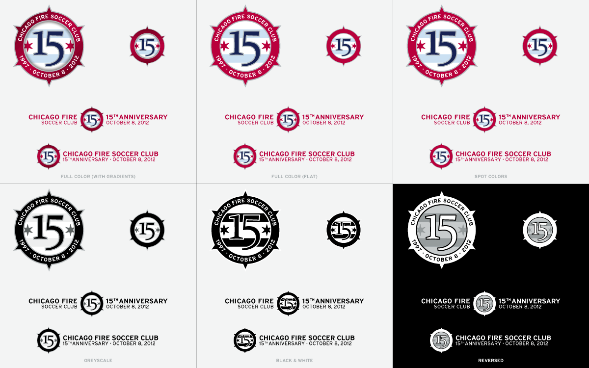 Chicago Fire 15th Anniversary Logo Options