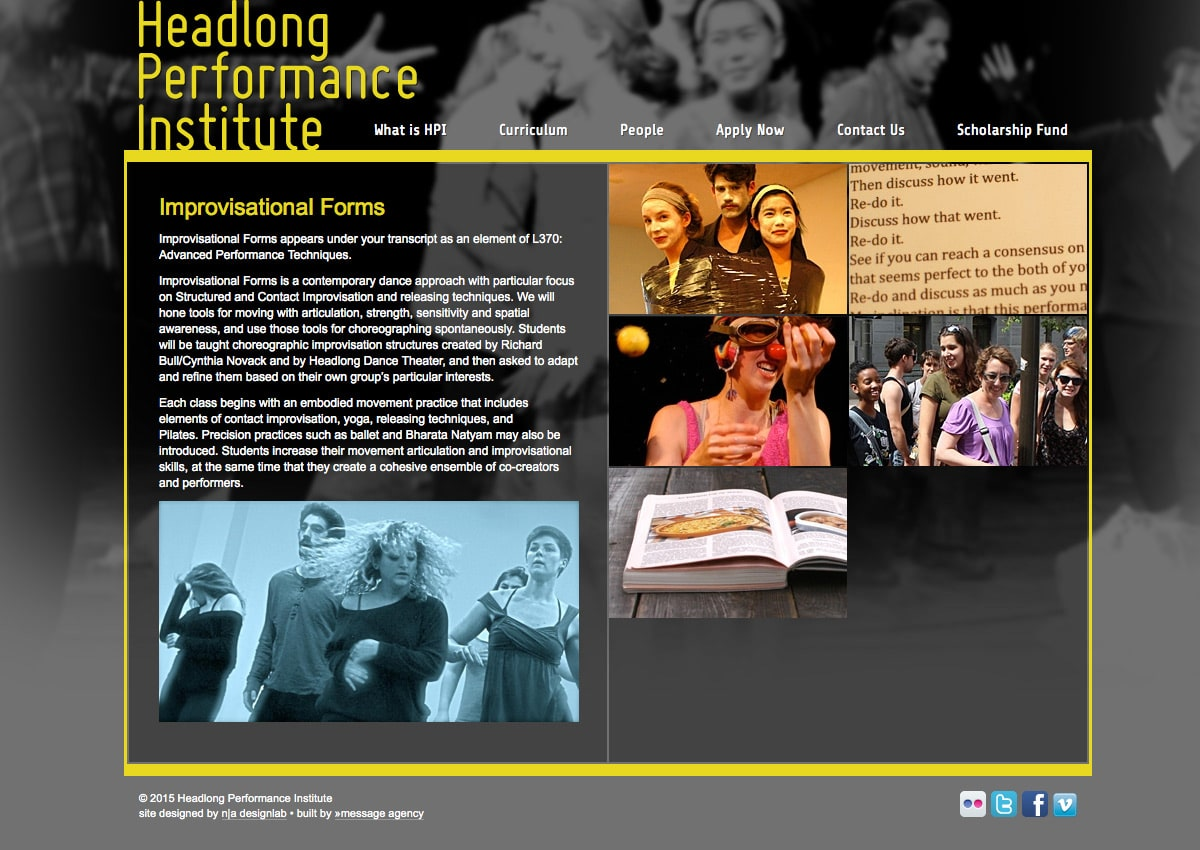 Headlong Performance Institute - Class Page